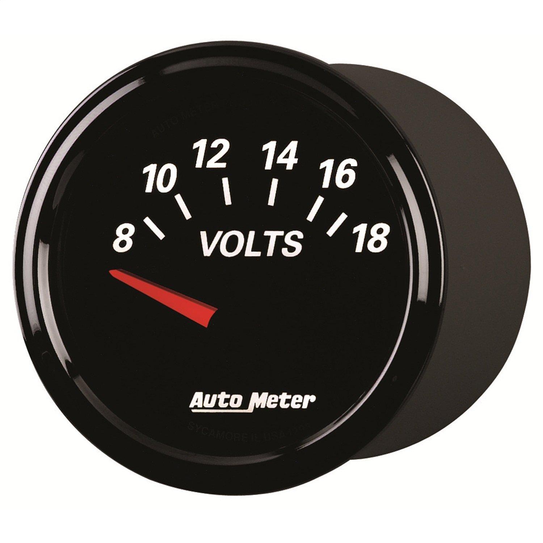 Auto Meter 1293 Designer Black II 2-1/16'' 8-18 Volt Short Sweep Electric Voltmeter Gauge