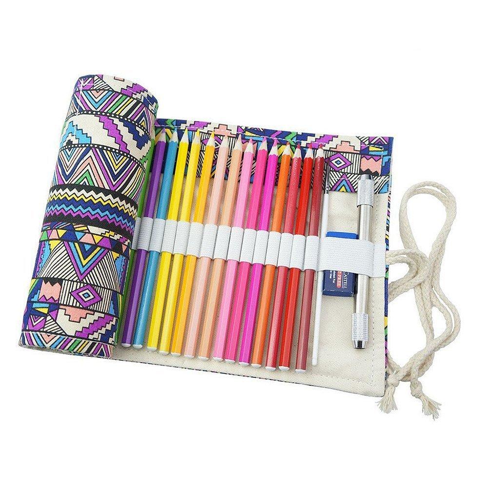 Cosanter 48slot porta matita sacchetto di tela a matita colorata arrotolato Wrap borsa per pittura
