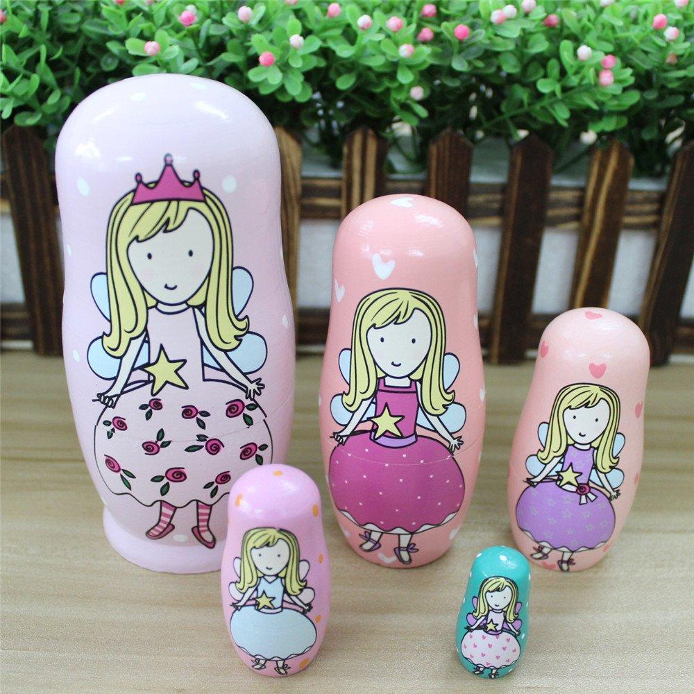 FQStech Cute Lovely Angel Princess With Pink Purple Green Dress Handmade Nesting Dolls Set 5 Pieces Kids Girls Gifts Toy Home Decoration
