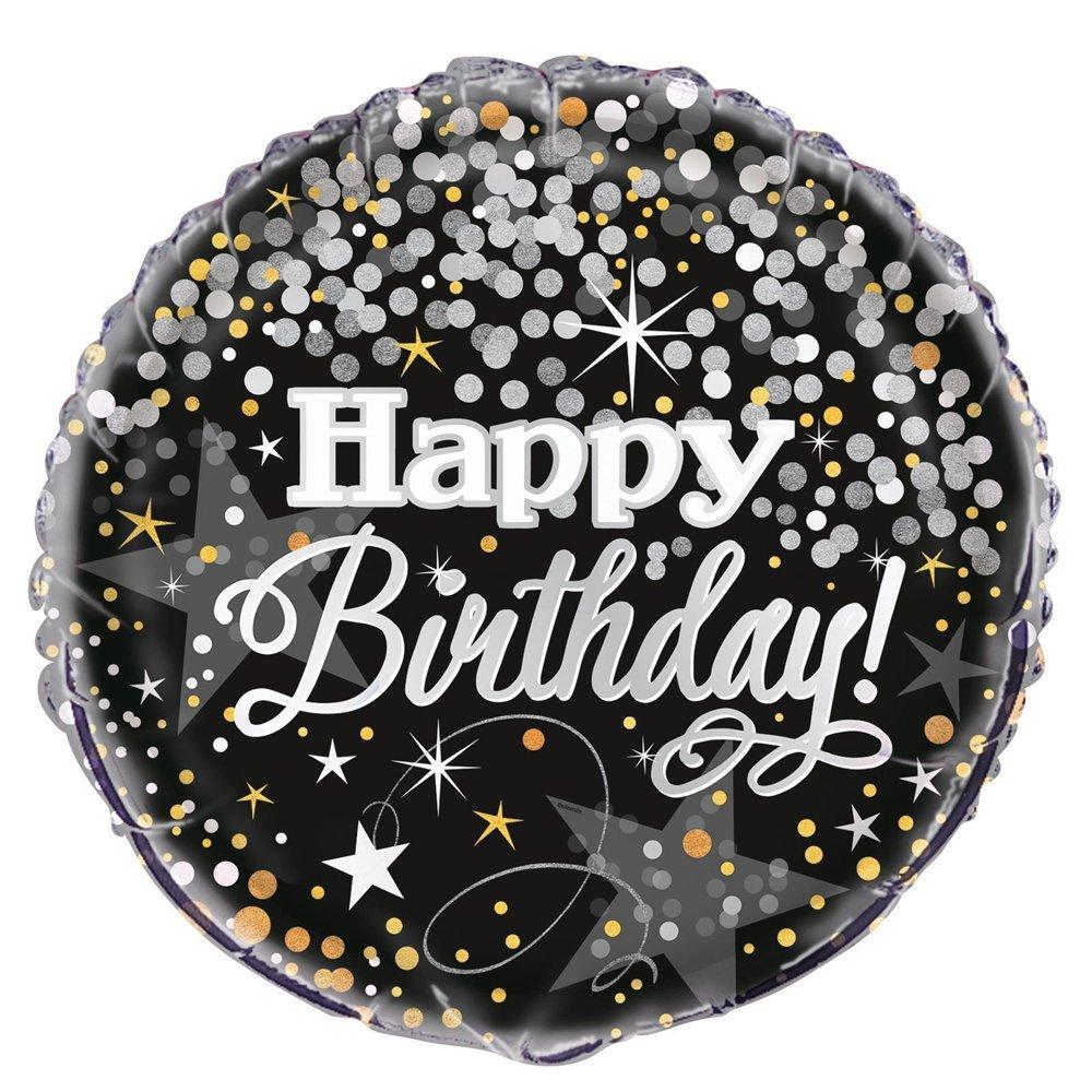 Unique Party 45, 7cm Folie silber glitzerndem Geburtstag Ballon 58287