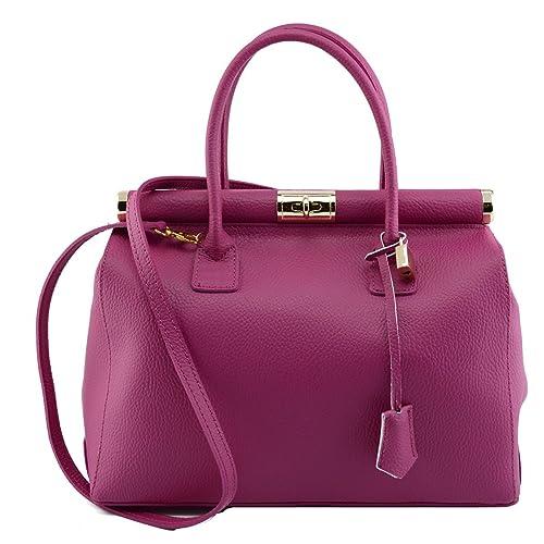 Bolso De Mano En Piel Verdadera Color Fucsia - Peleteria Echa En Italia - Bolso Mujer: Amazon.es: Zapatos y complementos