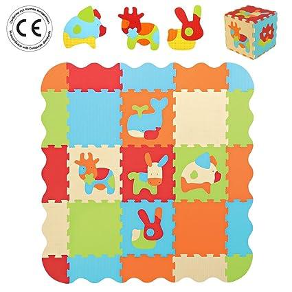 LUDI - Tapis de sol épais pour l'éveil de bébé - 10006 - puzzle géant aux motifs Animaux - dès 10 mois - lot de 9 dalles en mousse multicolores et 44 éléments amovibles pour un tapis de jeu ou parc.