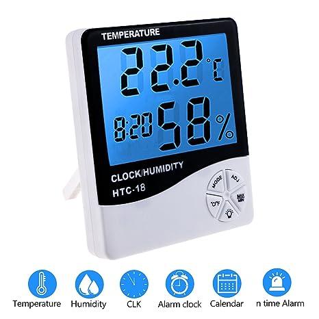 Zexuan Termómetro Higrómetro LCD Digital con Alarma, Temperatura Interior, Humedad Monitor Medidor, Pantalla LCD con Retroiluminacion Multifuncional ...