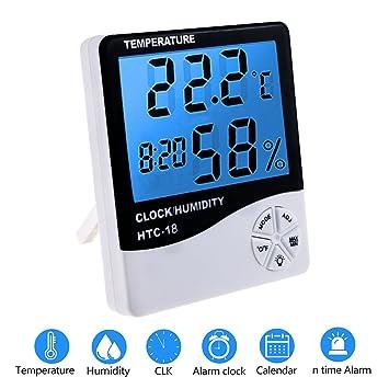 Zexuan Termómetro Higrómetro LCD Digital con Alarma, Temperatura Interior, Humedad Monitor Medidor, Pantalla LCD con Retroiluminacion Multifuncional con ...
