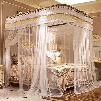Himmelbett weiß romantisch  Fulltime® Romantische Moskitonetz für Himmelbett Vorhang Edelstahl ...