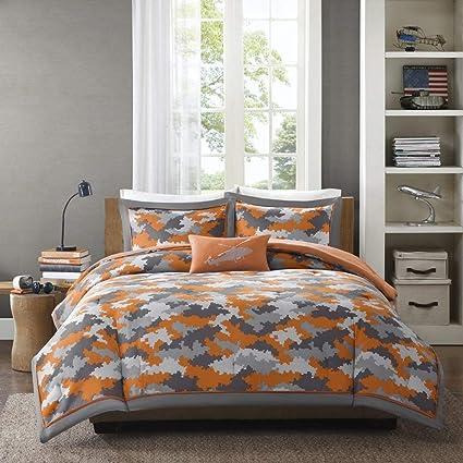 df59ab374 Amazon.com  4 Piece Kids Boys Grey Orange Camouflage Comforter Full ...
