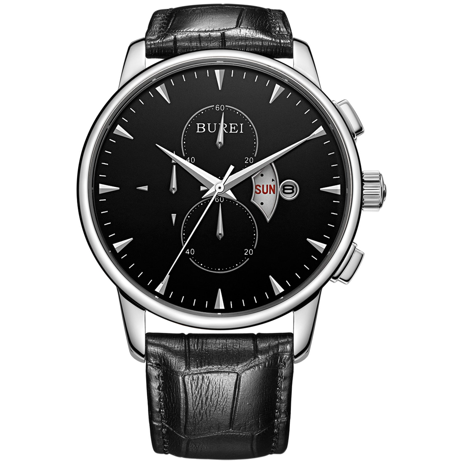 BUREI Men s 7003-P01EY Multifunction Day and Date Chronograph Sports Watch with Black Band