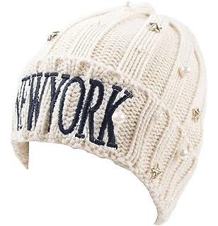JTC Femme Chapeau Avec Perles Blanche et étoile En Métal D hiver En  Tricotage élastique 0c4cf57339a