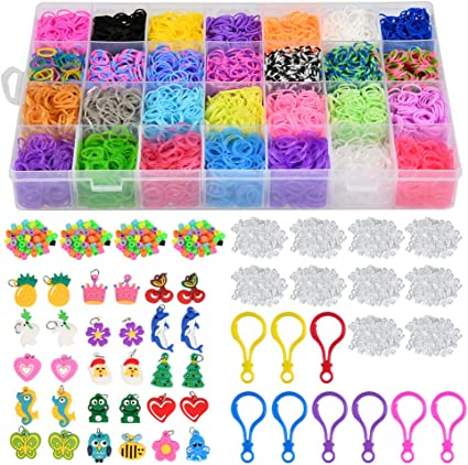 ONECK Loom Bands Kit 6800 DIY Elastici Colorato Loom Nastri Box per Lavorare a Maglia Giocattolo per bracciali Collana per Bambini
