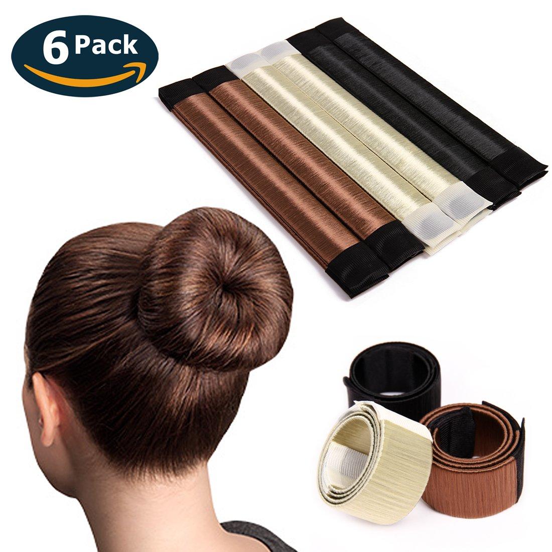 Eliace 6 PCS French Bun Tail Hair Buns Maker Magic DIY Hair Bun Making Styling French Twist Donut Bun Hairstyle Tool For Women Girls 3 Color