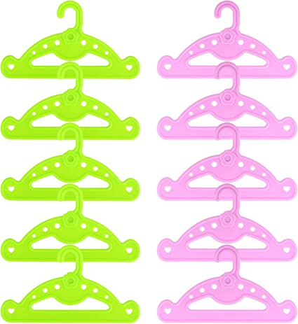 LORELO 10pcs//lot Hangers Doll Clothes Accessories Hanger Fit 18 Inch Doll /&43cm New Born Baby Green+Purple Clothes