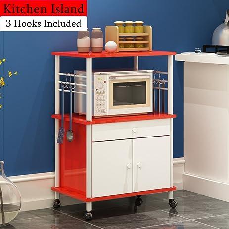 Kitchen Island With Locking Wheels Drawer Cabinet Shelf Kitchen Cart  Storage (Red)