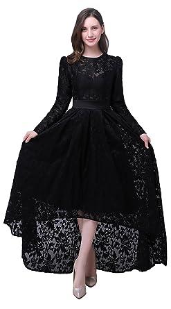 Tsygirls Women s Hi-Lo Prom Dress Long Sleeve Lace Evening Dress 2017 Black  High Neck e32d4015bb