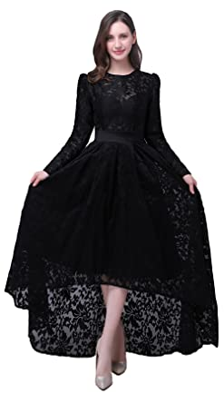 Tsygirls Womens Hi-Lo Prom Dress Long Sleeve Evening Dress Black Maxi Dress Ball Gown