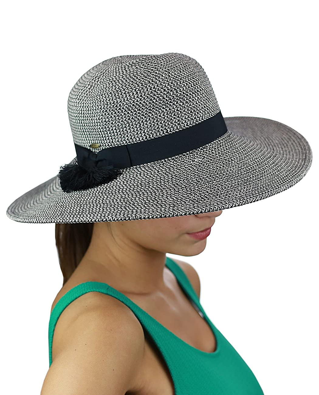 C.C Women's Solid Color Band with Tassel Summer Beach Floppy Brim Sun Hat Black ST505-BK