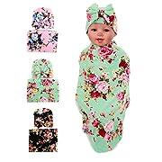 Gellwhu Baby Blankets,Newborn Baby Sleep Swaddle Blanket,Newborn Baby Beanie Hat,Pack of 3 Sets