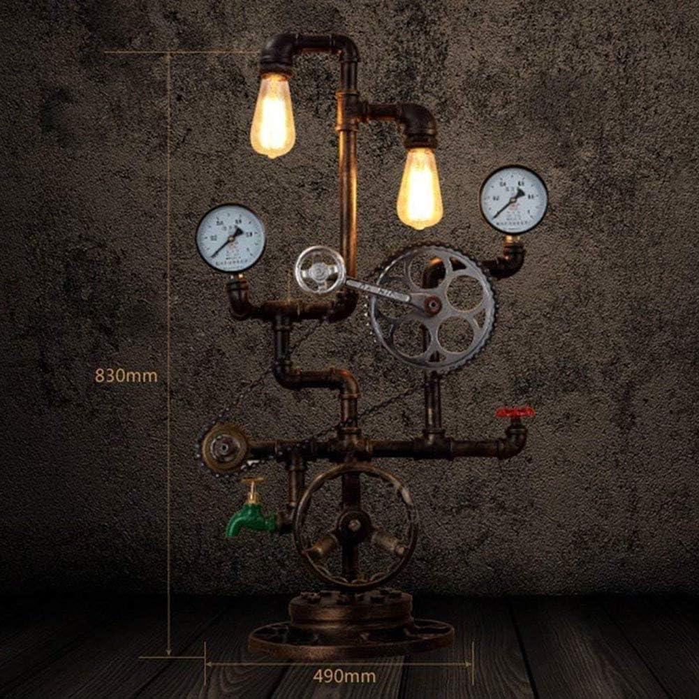 HIMA Tabella Industriale E27 Base Vintage Steampunk Rustico Lampada da Tavolo Base Antico Tubo Luce dello scrittorio Lampada da Comodino Plug