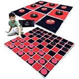 """SWOOC Games - 2-in-1 Vintage Giant Checkers & Tic Tac Toe Game with Mat ( 4ft x 4ft ) - 100% Machine-Washable Canvas with 5"""""""