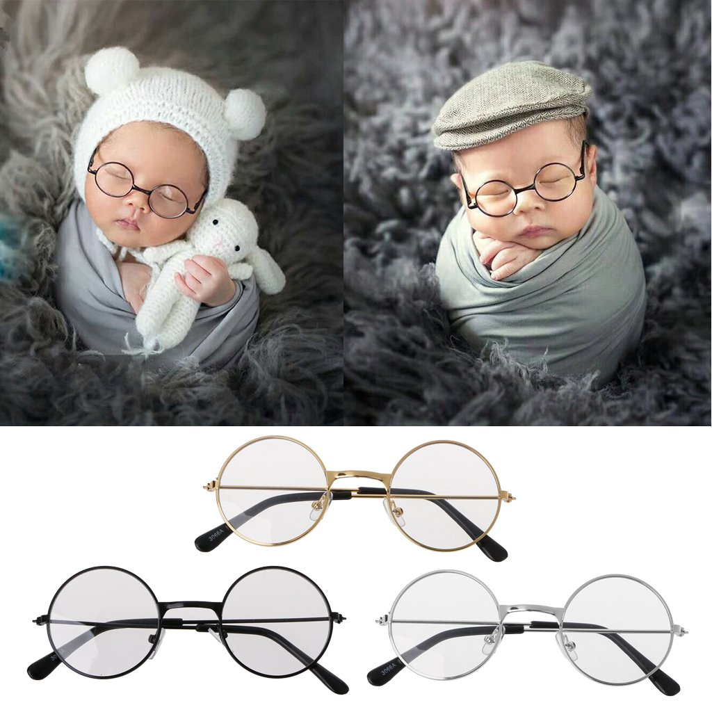 BKID Baby Photography Props Newborn Photo Outfits Props Infant Flat Classic Glasses Baby Shoot Props (Black)