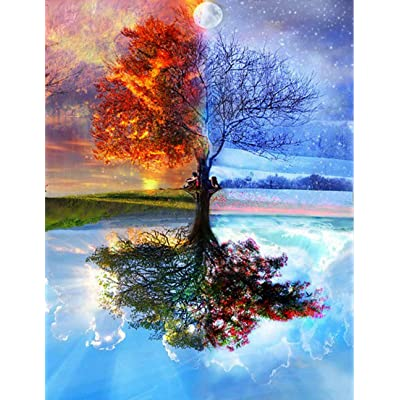 LOKIPA DIY Painting by Number for Kids Adults, DIY Painting Paint by Number Kits for Living Room Decoration Four Seasons Tree Life Tree 16x20inch: Toys & Games