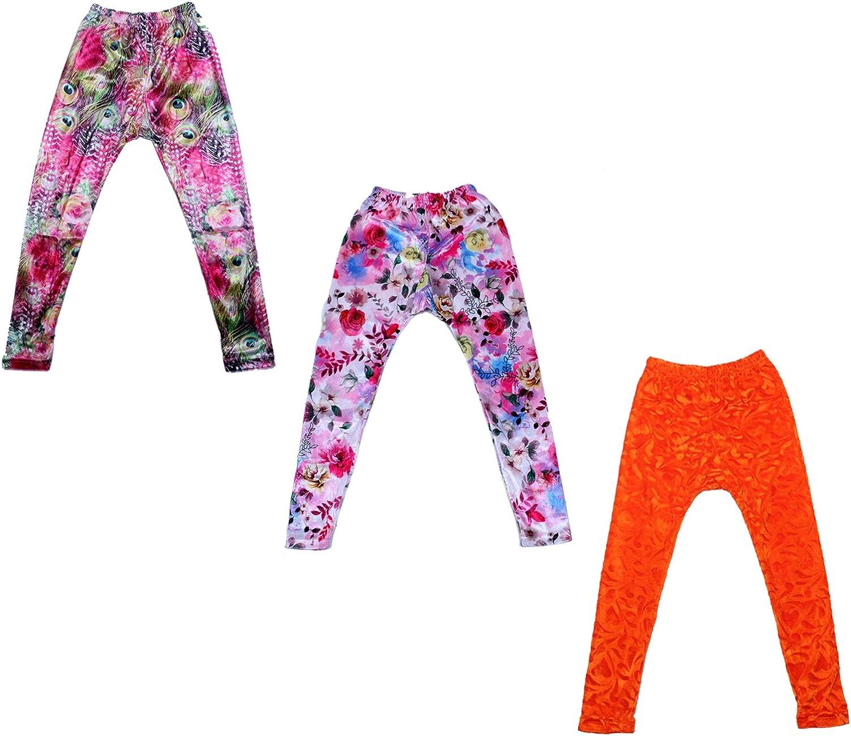 Indistar Kids Velvet /& Embossed Multicolor Leggings Combo Pack of 3