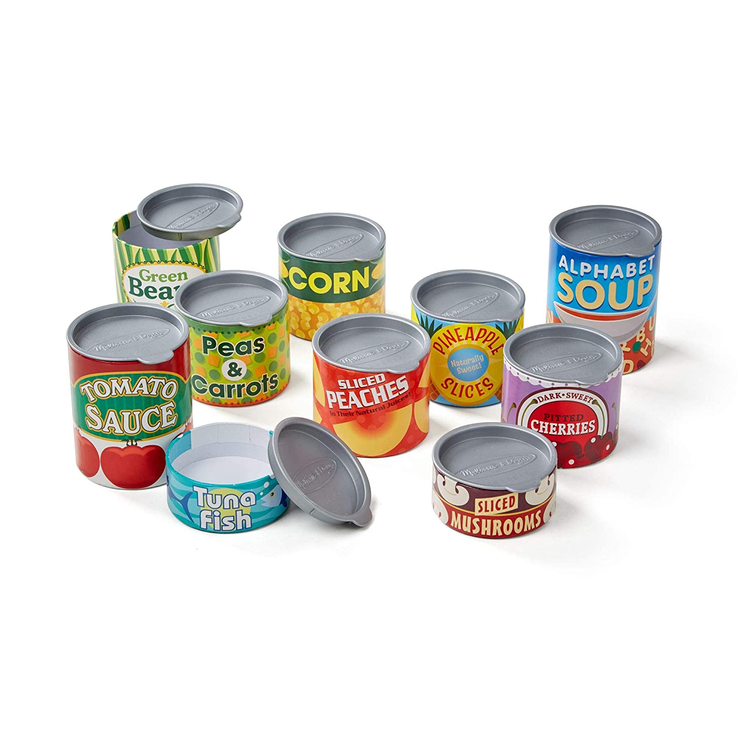 "Melissa & Doug Let's Play House! Grocery Cans, Pretend Play, Pop-Off Lids, Sturdy Cardboard construction, 10 Cans, 13"" H x 5"" W x 2.75"" L"