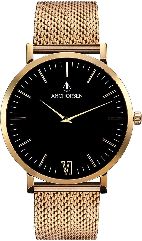 ANCHORSEN Big Adventure Maritime Armbanduhr - Farbe Gold - Schweizer Uhrwerk - Schwarzes Ziffernblatt - Goldenes