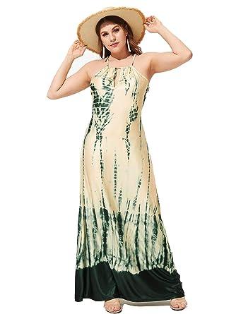 MAKEMECHIC Women\'s Plus Size Summer Tie Dye Halter Maxi ...