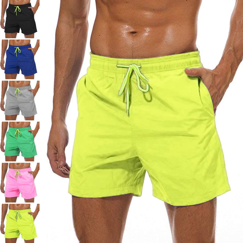 YnimioAOX Men's Swim Trunks Quick Dry Beach Board Shorts Swimwear Bathing Suit with Mesh Lining (A18-yellow, 36) by YnimioAOX