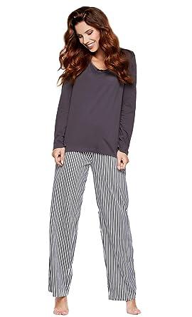 167bfdd5a30898 Moonline moderner und bequemer Damen Pyjama/Shorty / Capri Schlafanzug, mit weicher  Baumwolle,