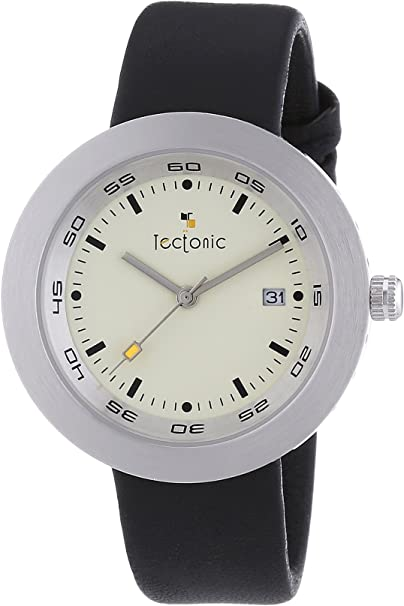 Tectonic - Reloj Analógico de Cuarzo Unisex, Correa de Cuero Color Negro