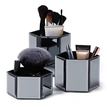 Beautify Hexagon Storage Pots For Makeup/ Cosmetics, Brushes, Jewelry U0026  Accessories   Set