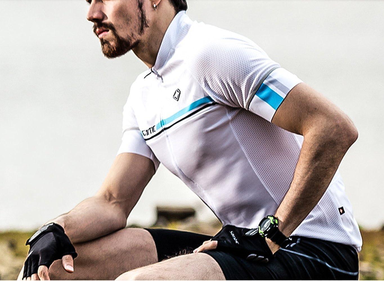 95eaaf307 Amazon.com  Santic Men s Summer UPF40+ Short Sleeve White Cycling Jersey   Clothing