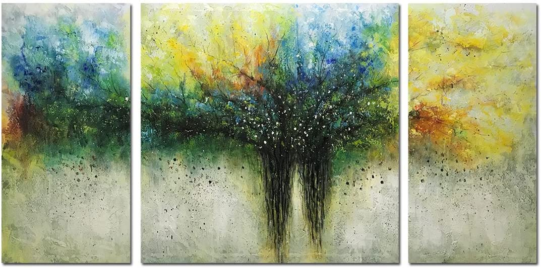 Metuu Paintings, 32×64 Inch Paintings Modern Tree of Life Oil Painting Contemporary Artwork Floral Hangings Stretched And Framed Ready to Hang Wall Decoration Abstract Painting