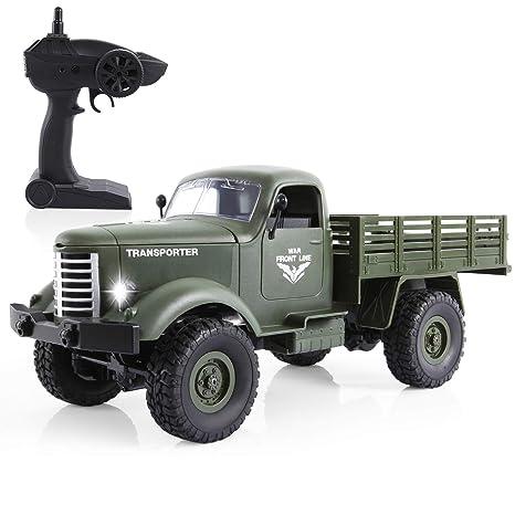 SGILE Juguete de Militar Camión de Control Remoto, 1:16 4WD Coche de Camión