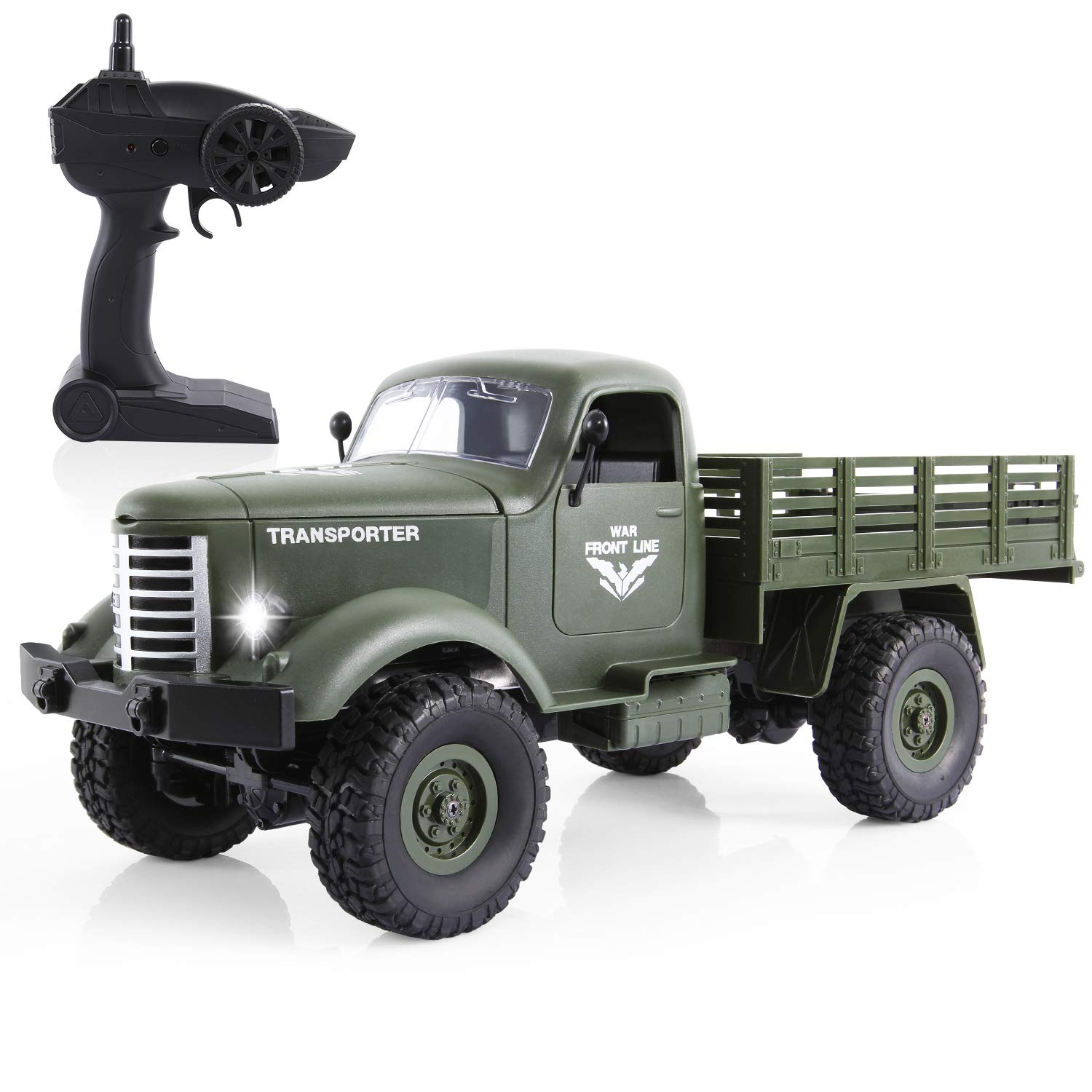 RC Military Truck, 1:16 4WD Off-Road Crawler Army Car, 2.4G Remote Control Hobby Toy RTR Car for Kids Adults Racing Training, Green
