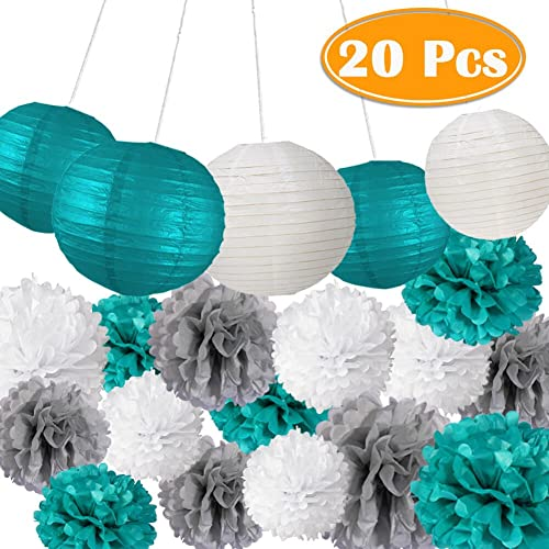 paxcoo 20 pcs teal party supplies for birthday decorations