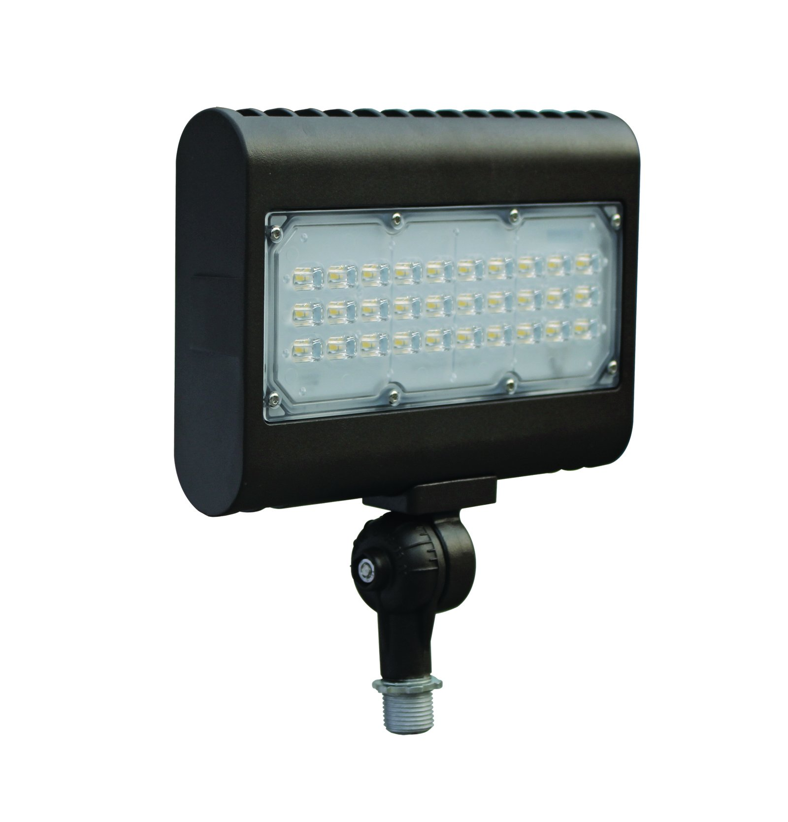 DLC-Listed LED 50 Watt Exterior Commercial Floodlight, 4000K Neutral White, 120V-277V, Comparable to 175-250W MH-HPS, 4900 Lumens, Threaded Box Mount, UL-Listed, LEDrock Warranty Based Denver, CO, USA by LEDrock