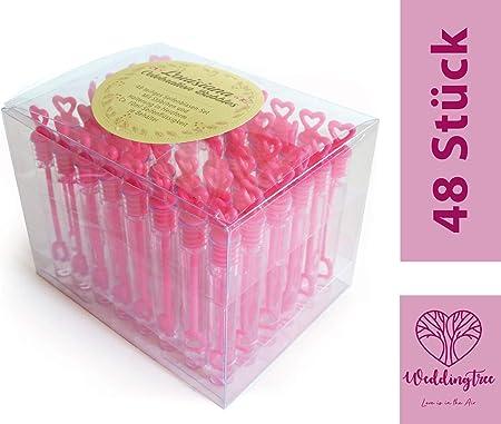 Weddingtree Seifenblasen Set In Pink 48 Teilig Herzgriff Herzallerliebst Für Hochzeit Taufe Geburtstag Goldene Hochzeit Verlobung Valentinstag