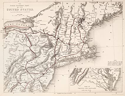 Amazon.com: Map Northeast USA Nmap Of The Northeastern Part ...