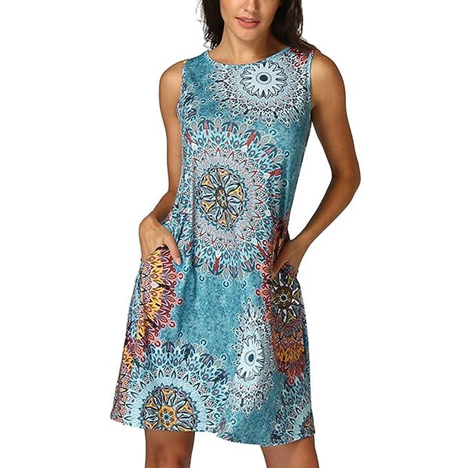Styledress Sommerkleider Damen Elegant Ärmelloses Vintage-Kleid  Cocktailkleider Frauen Boho Maxikleid Kleider Drucken Minikleid Strandkleid  ... 641ed64eaf