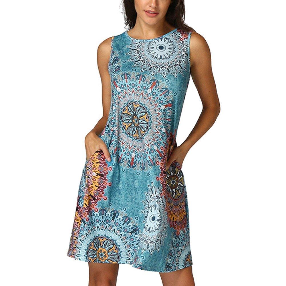 Libermall Women's Dresses Casual Vintage Boho Printed 3/4 Sleeve Knee Length Mini Dress Beach Sundress