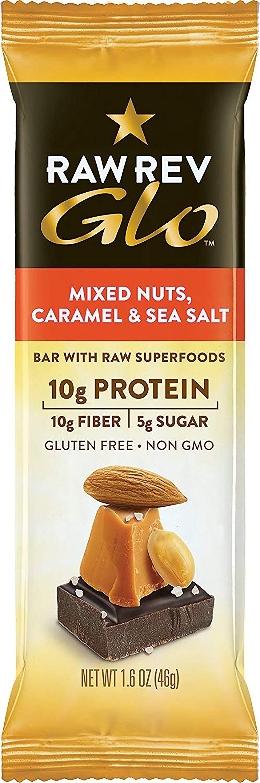 Raw Rev Glo Vegan, Gluten-Free Protein Bars - Mixed Nuts Caramel & Sea Salt 1.6 ounce (Pack of 144)