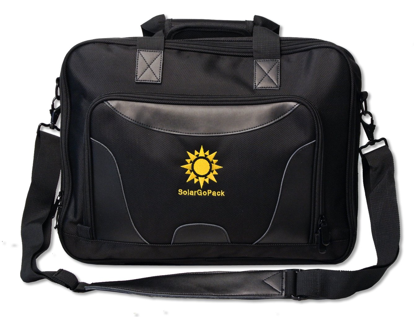 SolarGoPack, solar powered Professional Briefcase, has a 6.5 watt SunPower Solar Panel that charges all mobile devices, Take Your Power with You, comes with a 10k mAh Lithium Ion Battery