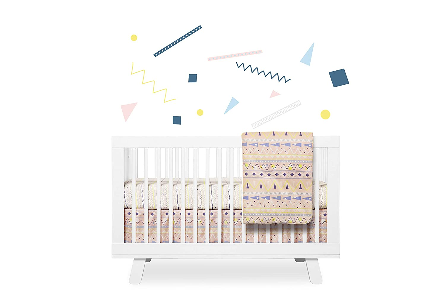 Babyletto 5-Piece Nursery Crib Bedding Set, Fitted Crib Sheet, Crib Skirt, Play Blanket, Contour Changing Pad Cover & Wall Decals, Desert Dreams