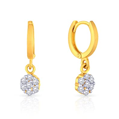 dc592b195 Image Unavailable. Image not available for. Colour: Malabar Gold and Diamonds  22k Yellow Gold and Cubic Zirconia Clip On Earrings ...