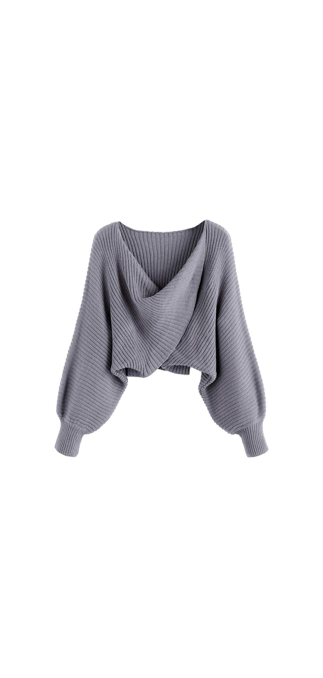 Women's V-neck Asymmetric Twist Pullover Crop Knitted