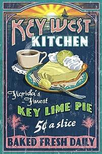 Key West, Florida - Key Lime Pie Vintage Sign (9x12 Art Print, Wall Decor Travel Poster)