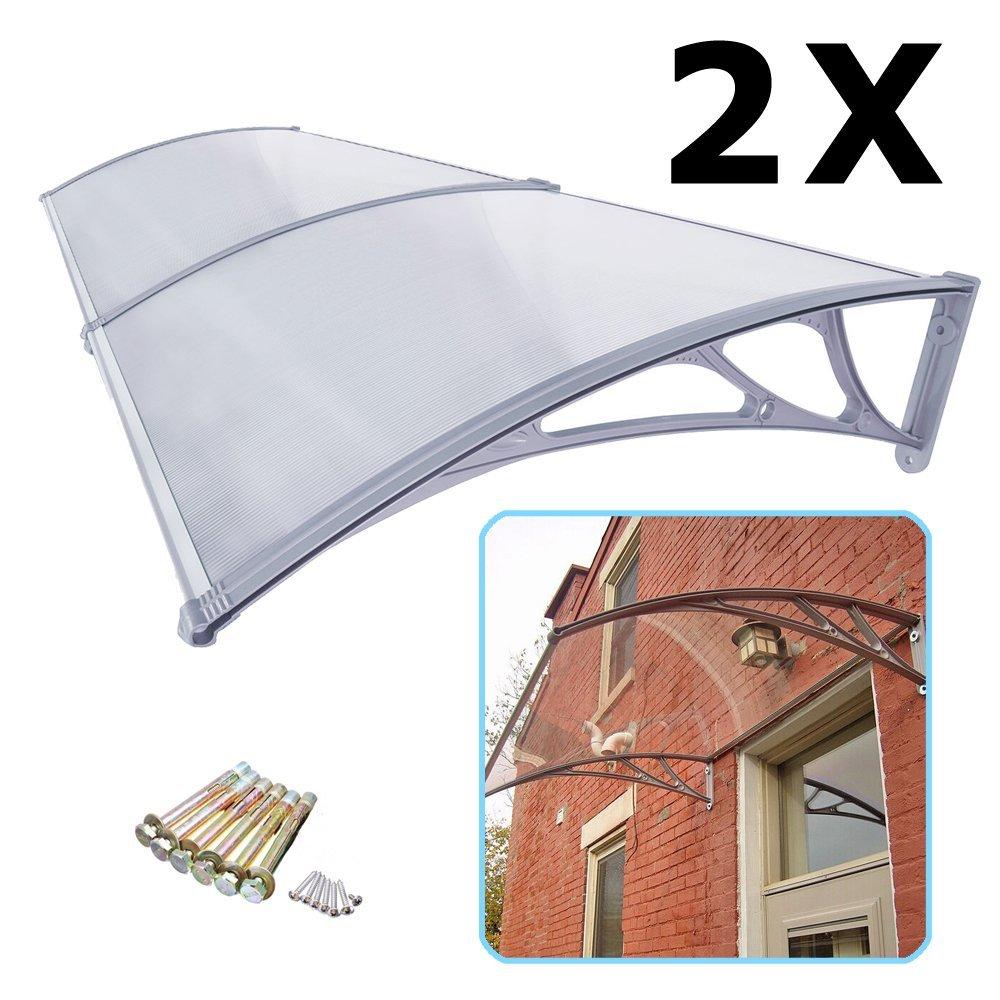 Super Deal 2 Pieces Overhead Clear Door Window Outdoor 40u0027u0027 X 80u0027u0027 Awning  Door Canopy Patio Cover Modern Polycarbonate UV Rain Snow Protection 1m X  2m, ...