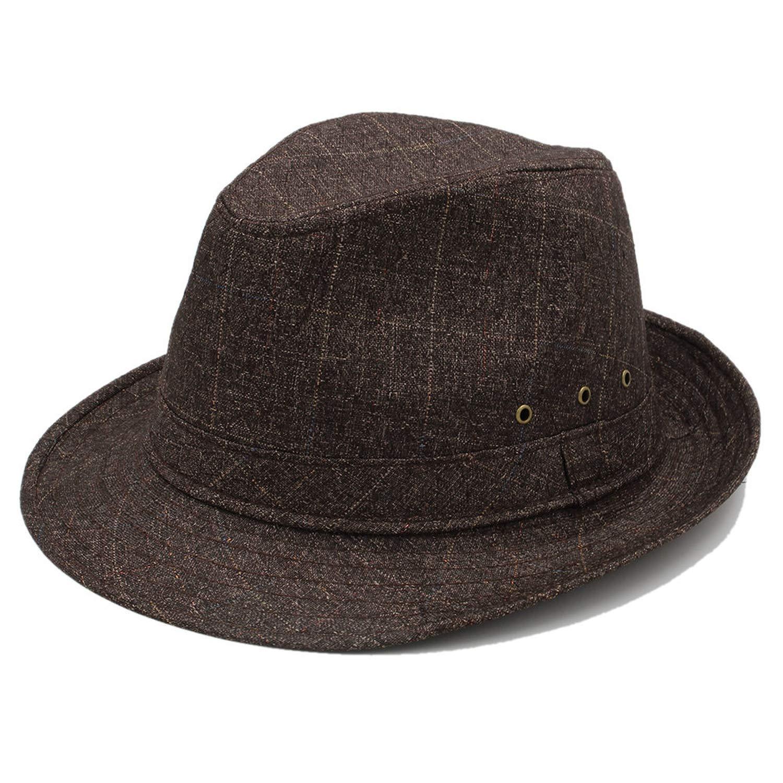 ANDERDM 4Size 57 58 59 60CM for Men Cotton Fedora Hat Gentleman Dad Autumn Homburg Church Jazz Hat Father Gift